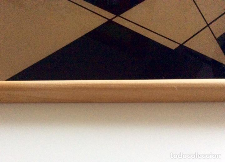 Vintage: Bandeja años 70 estilo arty en madera/cristal serigrafía diseñada por la marca de moda MARAGDA. - Foto 6 - 102659632