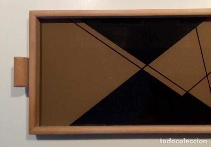 Vintage: Bandeja años 70 estilo arty en madera/cristal serigrafía diseñada por la marca de moda MARAGDA. - Foto 8 - 102659632