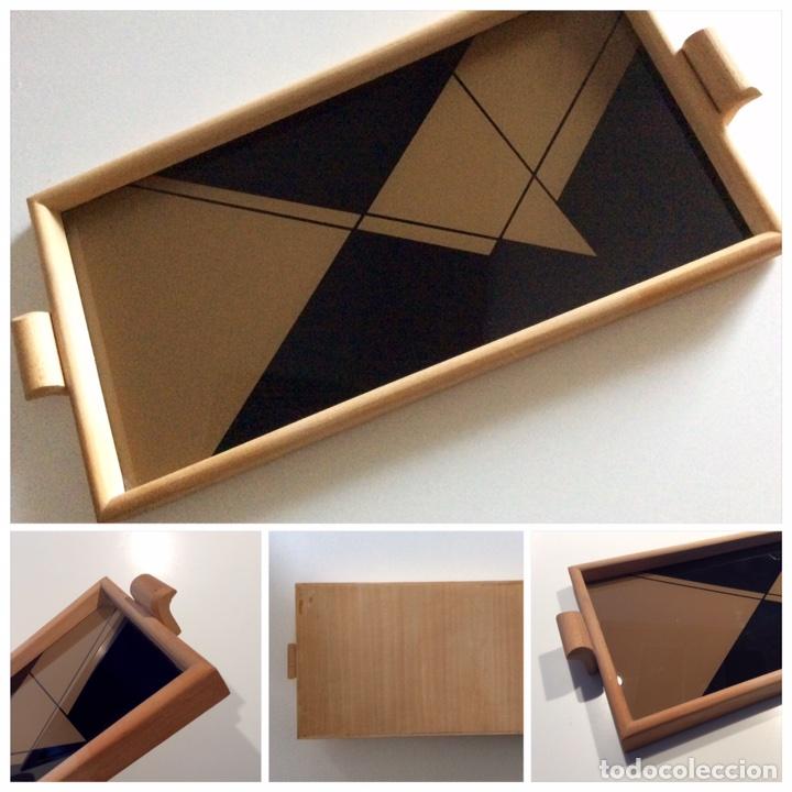 Vintage: Bandeja años 70 estilo arty en madera/cristal serigrafía diseñada por la marca de moda MARAGDA. - Foto 9 - 102659632