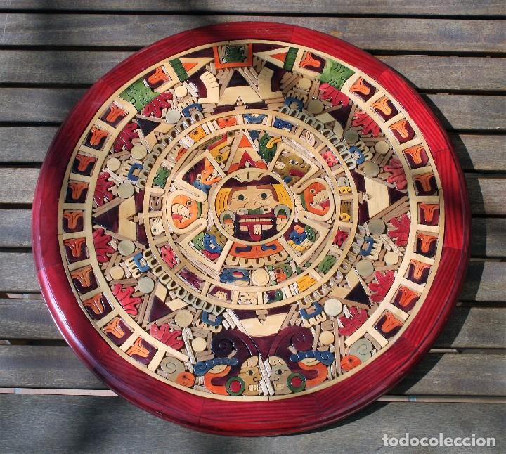 Il Calendario Maya.Calendario Maya En Madera Tenida Y Barnizada 47 Cms Diametro