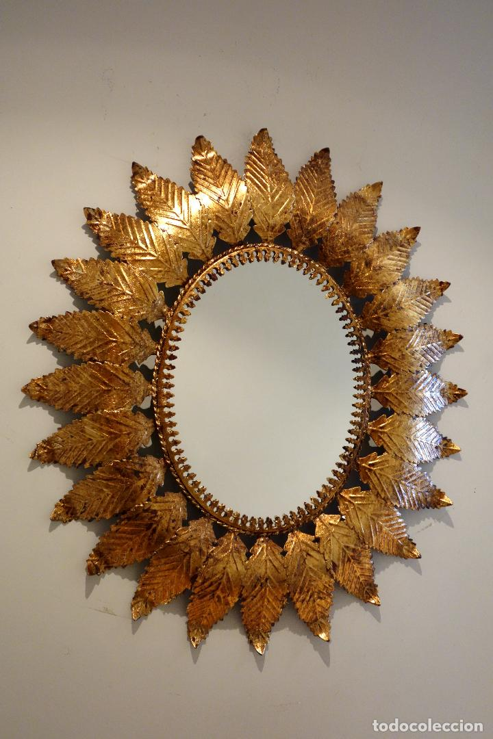 Espejo vintage sol a os 60 metal dorado pan de comprar - Espejo sol dorado ...