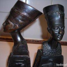 Vintage: DOS BUSTOS DE LA REINA NEFFERTITI EN BRONCE TRAIDOS DE EGIPTO.(SE PUEDEN USAR COMO SUJETALIBROS). Lote 82939339