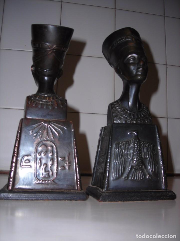 Vintage: DOS BUSTOS DE LA REINA NEFFERTITI EN BRONCE TRAIDOS DE EGIPTO.(Se pueden usar como sujetalibros) - Foto 3 - 82939339