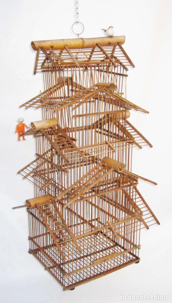 gran jaula pajarera vintage ideal uso o decoracion en caa y madera vintage decoracin