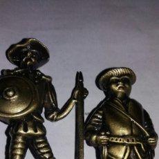 Vintage: FIGURA DE DON QUIJOTE Y SANCHO EN METAL COLOR BRONCE. Lote 85070658