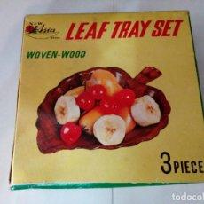 Vintage: LEAF TRAY SET, TRES PIEZAS DE MADERA, HOJAS TALLADAS, A ESTRENAR. Lote 86699976