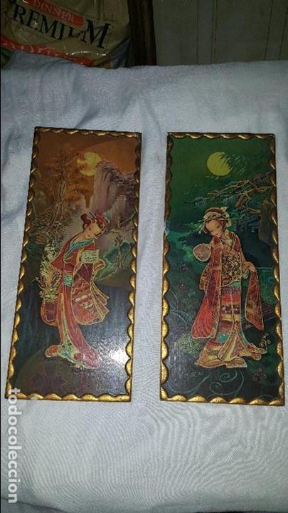 PAREJA CUADROS CHINOS AÑOS 60 (Vintage - Decoración - Varios)