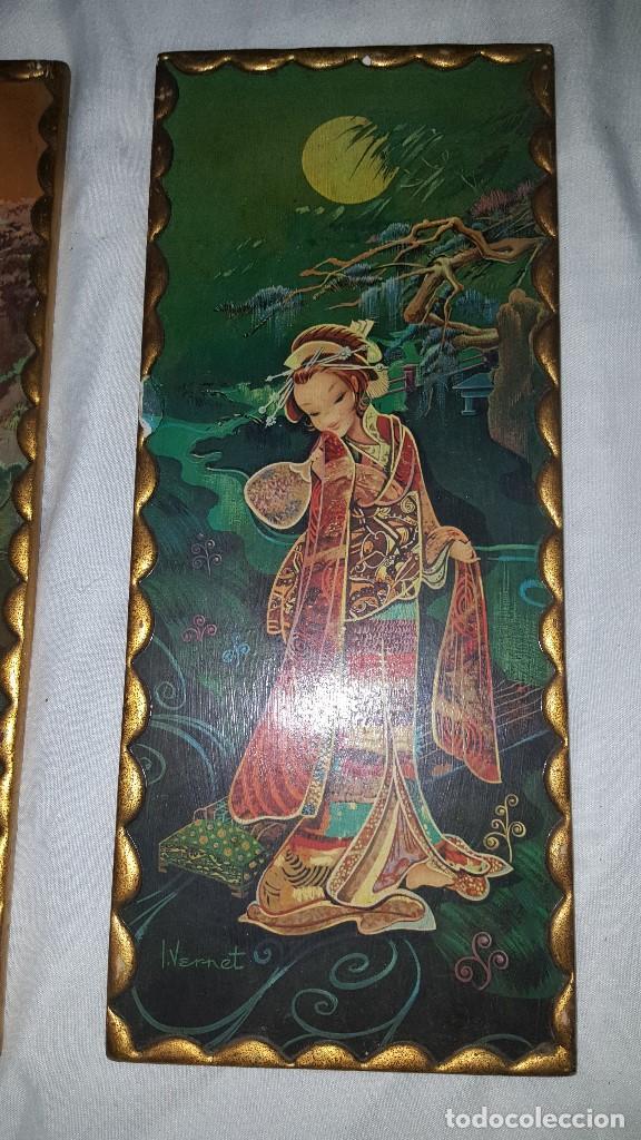 Vintage: PAREJA CUADROS CHINOS AÑOS 60 - Foto 2 - 87366964