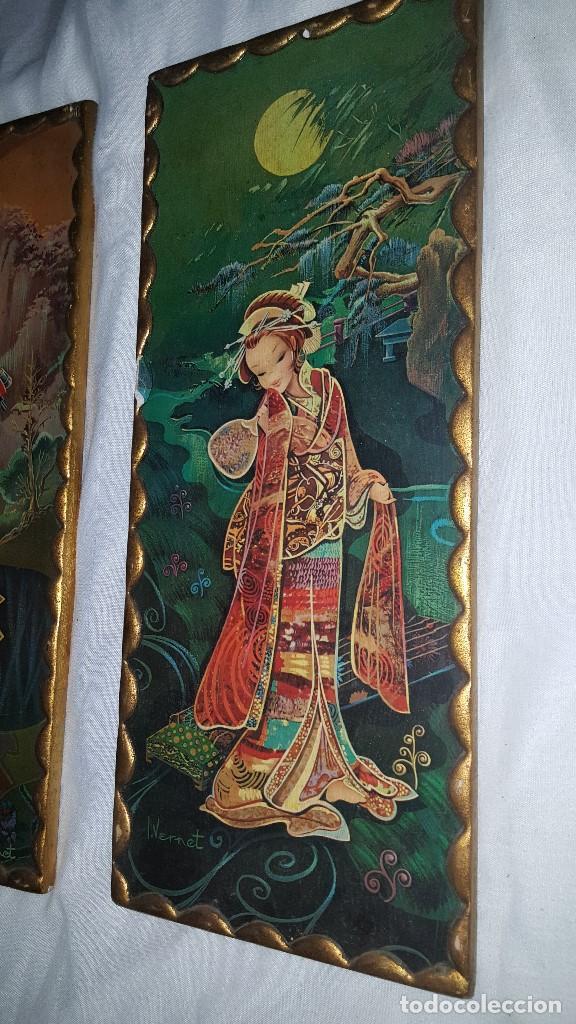 Vintage: PAREJA CUADROS CHINOS AÑOS 60 - Foto 5 - 87366964