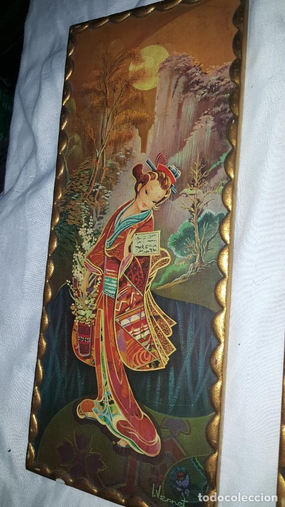 Vintage: PAREJA CUADROS CHINOS AÑOS 60 - Foto 6 - 87366964