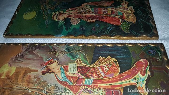 Vintage: PAREJA CUADROS CHINOS AÑOS 60 - Foto 13 - 87366964