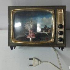 Vintage: TELEVISION DECORACION AÑOS 60, CON LA VIRGEN DEL PILAR. Lote 87689068