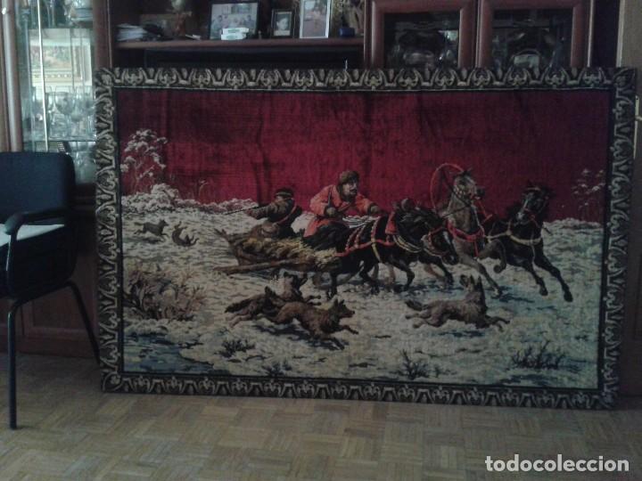 Vintage: Gran tapiz antiguo con escena de caza cacería estepa rusa cuadro tapiz de lana antiguo retro vintage - Foto 2 - 90992165