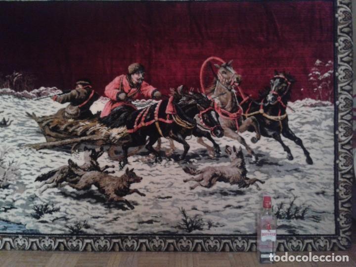 Vintage: Gran tapiz antiguo con escena de caza cacería estepa rusa cuadro tapiz de lana antiguo retro vintage - Foto 3 - 90992165