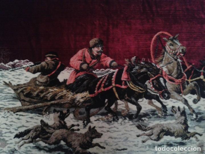 Vintage: Gran tapiz antiguo con escena de caza cacería estepa rusa cuadro tapiz de lana antiguo retro vintage - Foto 4 - 90992165