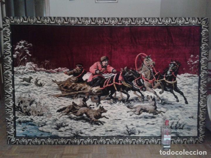 Vintage: Gran tapiz antiguo con escena de caza cacería estepa rusa cuadro tapiz de lana antiguo retro vintage - Foto 6 - 90992165