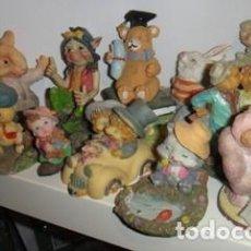 Vintage: LOTE 14 FIGURAS DE FIBRA, ESCENAS ANIMALES, COLECCIONABLES. Lote 91543210