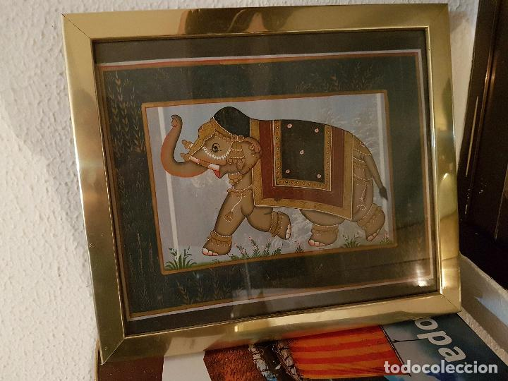 Vintage: CUADRO CON TELA DE ELEFANTE DE INDIA; MARCO CON ALGUNAS PEQUEÑAS ABOLLADURAS, QUE NO SE NOTA MUCHO - Foto 3 - 91771610