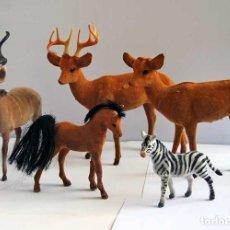 Vintage: COLECCIÓN DE ANTIGUOS ANIMALES DE PLÁSTICO FORRADOS DE TERCIOPELO. Lote 94037410