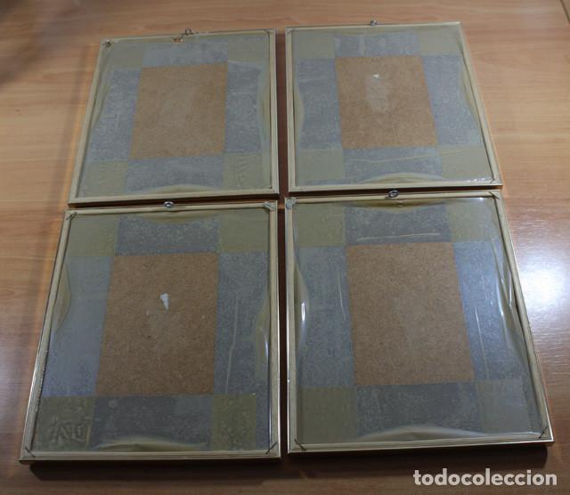 Vintage: CURIOSOS 4 CUADROS OCHENTEROS VINTAGE CON LAS 4 ESTACIONES MARCO DORADO 25 X 21 CM AÑOS 80 - Foto 2 - 94073300