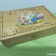Vintage: ANTIGUO ESTUCHE DE LABORES. MADERA FRUTAL. GRABADO NIÑOS. BUEN ESTADO. Lote 94325830