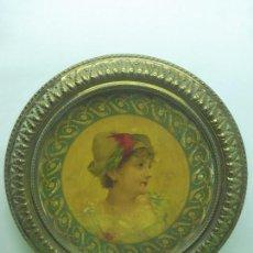 Vintage: ANTIGUO CUADRO REDONDO O TONDO. ORIGINAL ART DECÓ. RETRATO SOBRE METAL. MARCO CON FILIGRANA. Lote 94813755
