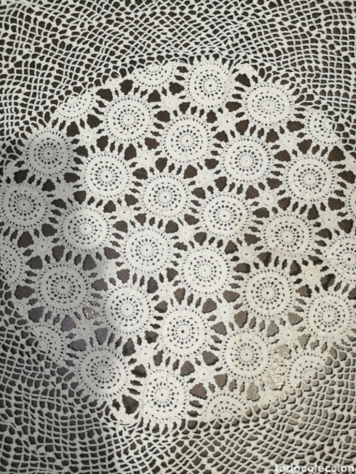 Vintage: Tapete/ centro de mesa blanco de crochet - Foto 3 - 95388778