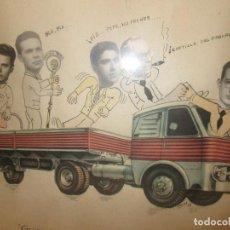 Vintage: CURIOSO CUADRO CON FOTOMONTAJE ARTESANAL DESPEDIDA DE SOLTERO, CON CAMIÓN PEGASO, ORIGINAL 1956. Lote 96551455