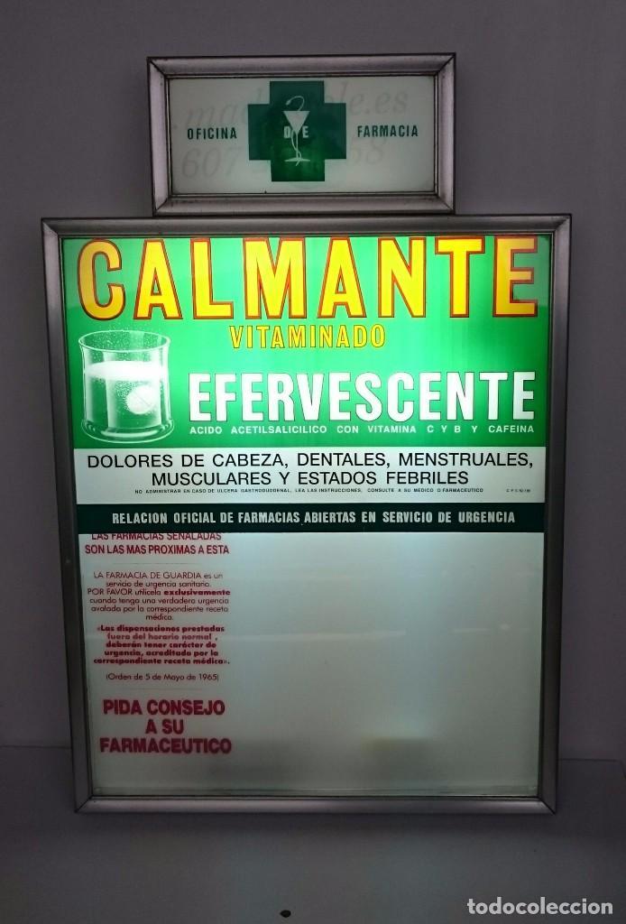 URNA DE TURNOS DE GUARDIA DE FARMACIA DE CALMANTE VITAMINADO RESTAURADO CON ILUMINACION ORIGINAL (Vintage - Decoración - Varios)