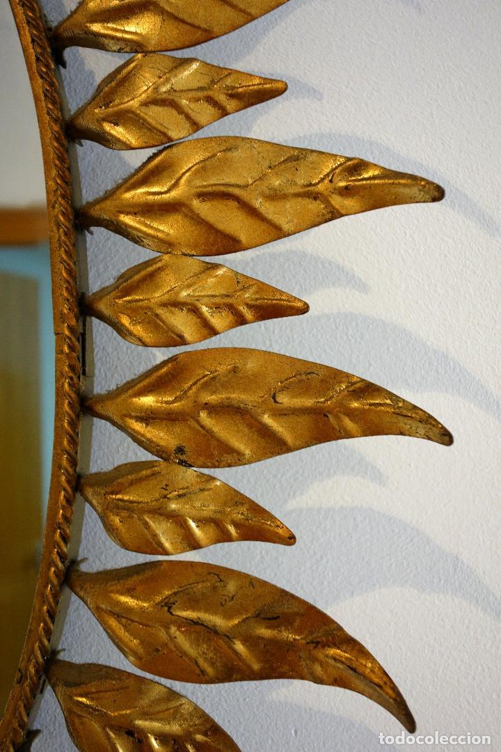 gran espejo vintage tipo sol años 60 metal dora - Comprar en ...