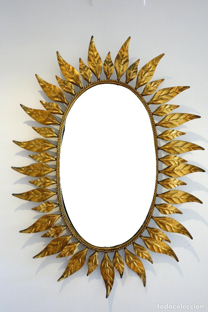 espejo vintage tipo sol años 60 metal dorado al - Comprar en ...