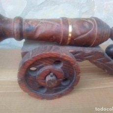 Vintage: ANTIGUO CAÑON DE MADERA RÚSTICA 45 CM LARGO. Lote 99764167