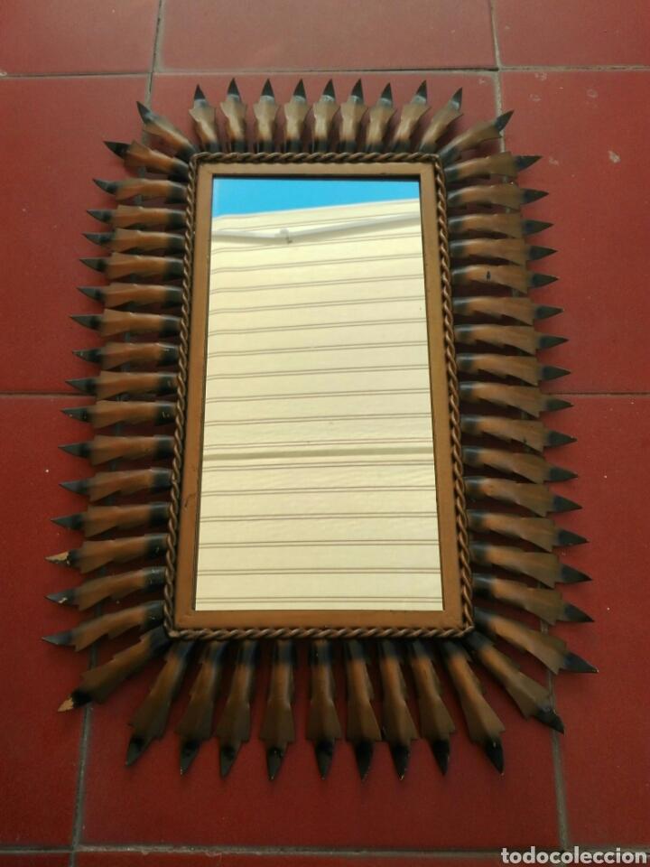 ESPEJO SOL VINTAGE ANTIGUO RECTANGULAR METAL DORADO (Vintage - Decoración - Varios)
