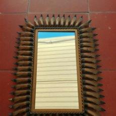 Vintage: ESPEJO SOL VINTAGE ANTIGUO RECTANGULAR METAL DORADO. Lote 99764523
