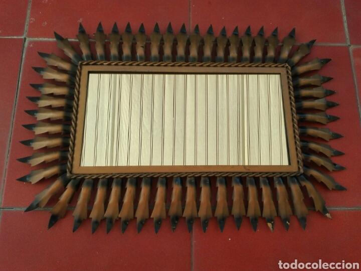 Vintage: ESPEJO SOL VINTAGE ANTIGUO RECTANGULAR METAL DORADO - Foto 2 - 99764523