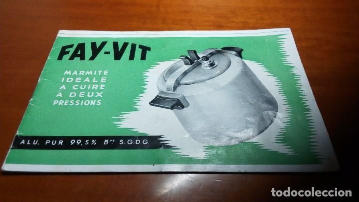 Vintage: OLLA EXPRES FAY - VIT CON SU LIBRITO DE RECETAS E INSTRUCCIONES DE USO EN FRANCES. Años 50 - Foto 2 - 99907707