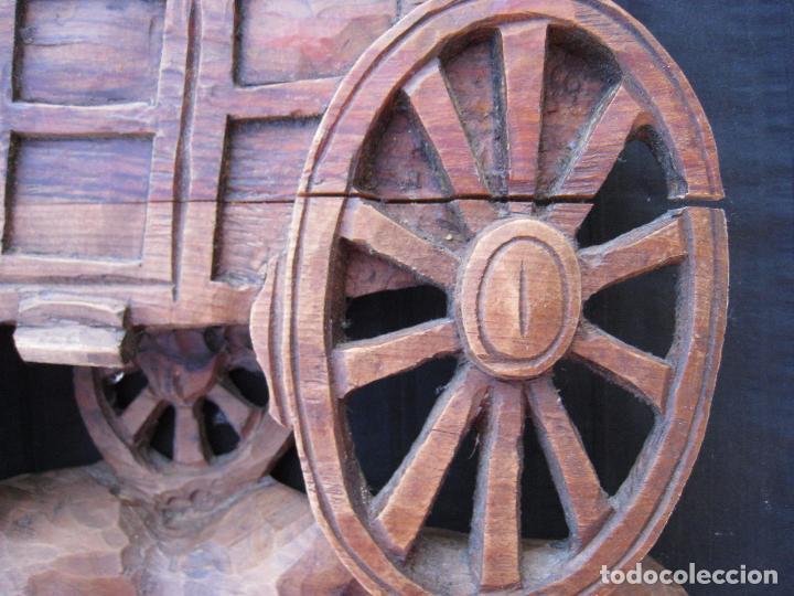 Vintage: CARRUAJE DECORATIVO TALLADO EN MADERA, DE PARED. - Foto 4 - 101302579
