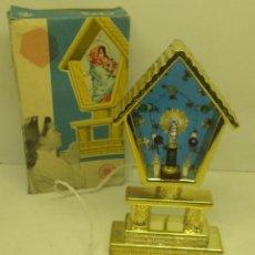 Vintage: ANTIGUO TEMPLETE CON LUZ,CAPILLA,ALTAR CON VIRGEN DEL PILAR, AÑOS 60, CEFA. Lote 102551171