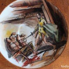 Vintage: PLATO ESCENAS DE DON QUIJOTE DE LA MANCHA CON MARCO DE MADERA PORCELANA A.R.A VALENCIA. Lote 102687747