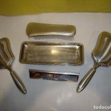 Vintage: JUEGO TOCADOR COQUETA 5 PIEZAS ALPACA PLATEADO RODIADO,VINTAGE, AÑOS 70, NUEVO SIN USAR.. Lote 102765439