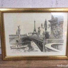 Vintage: LITOGRAFÍA À PARIS MARMARTRE 26X20. Lote 102802514