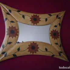 Vintage: ESPEJO MADERA PINTADO A MANO. Lote 103888231