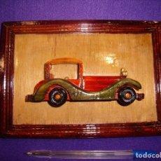 Vintage: CUADRO COCHE MADERA, AÑOS 70,MEDIDAS, 23 X 16 CM, NUEVO.. Lote 104705203