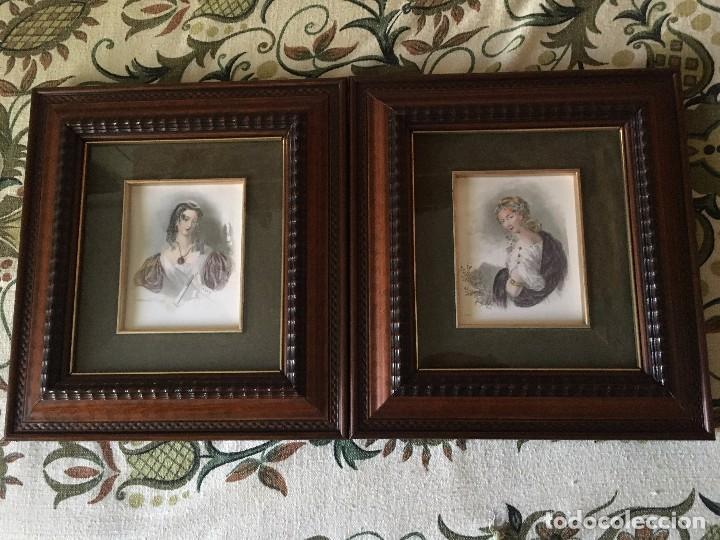 kk lote 2 bonitos cuadros enmarcados en madera - Comprar en ...