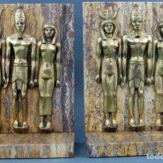 Vintage: SUJETALIBROS DE MÁRMOL CON FIGURAS EGIPCIAS DE BRONCE AÑOS 70. Lote 107216471
