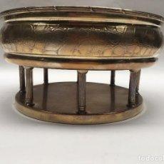 Vintage: CENTRO MESA JARDINERA METAL PLATEADO IMITACION DE COCODRILO. Lote 109050451