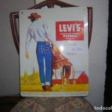 Vintage: ANUNCIO EN CHAPA LEVI´S AMERICA´S FINEST OVERALL. Lote 109445151