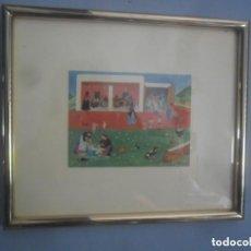 Vintage: CUADRO NAÏF CON ESTAMPA DE MARGOT TATE 70. Lote 110249307