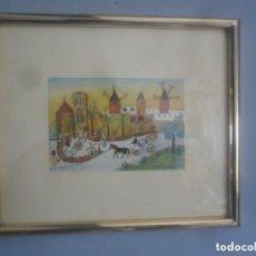 Vintage: CUADRO NAÏF CON ESTAMPA DE J. GAUGER 75. Lote 110249623
