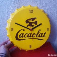 Vintage: CARTEL RELOJ BEBIDA CACAOLAT CHAPA TAPON BOTELLA PUBLICITARIO PUBLICIDAD PLASTICO 30 CM VINTAGE. Lote 111275708